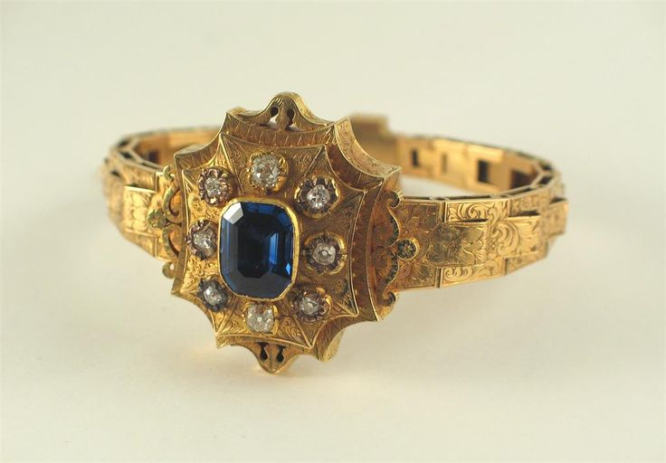 A 19th century sapphire and diamond gold bracelet, the centre section set with a...
