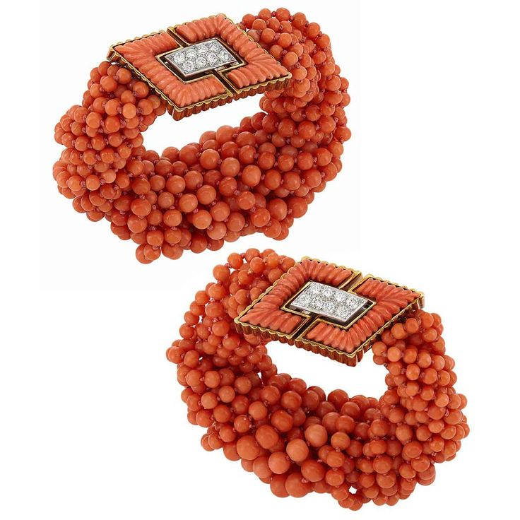 A pair of coral and diamond bracelets c. 1980 by Tiffany & Co.
