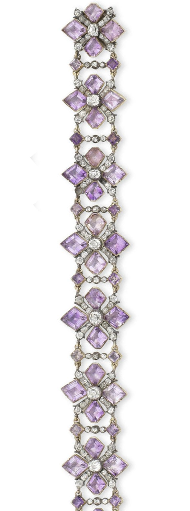 A rare 18th century amethyst and diamond bracelet.  The openwork strap composed ...