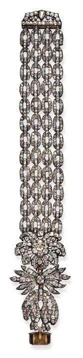 A rare 18th century diamond Golden Fleece bracelet. Designed as an old-cut diamo...