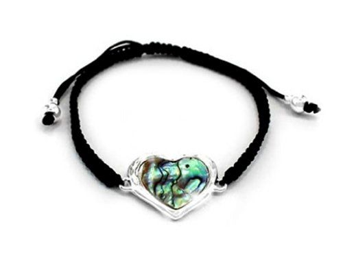 Abalone Heart G3 Knotted Cord Friendship Bracelet Silver ... www.amazon.com/...