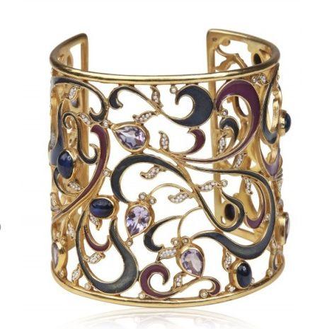Amethyst, sapphire, seed pearl, enamel and 18 karat gold bracelet, by Diego Perc...