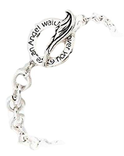 Angel Wing Bracelet BA Silver Tone Toggle 7.25 inch Long  www.amazon.com/...