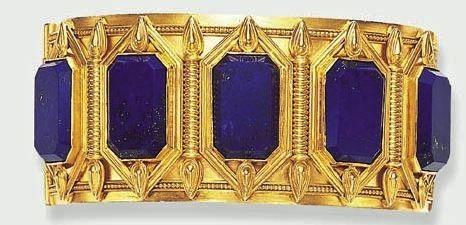 Antique Gold and Lapis Bracelet.