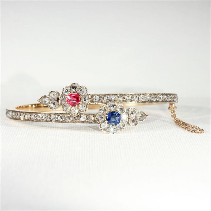 Antique Ruby Diamond and Sapphire Flower Bangle, 18k Gold, c. 1890