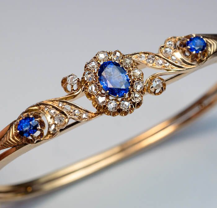 Antique Victorian Era Sapphire Diamond Gold Bracelet, Moscow, circa 1890. A 14K ...