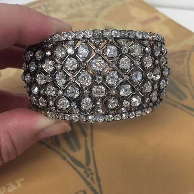 Beautiful and rare 19th century diamond bangle, made in France. Coming soon to B...