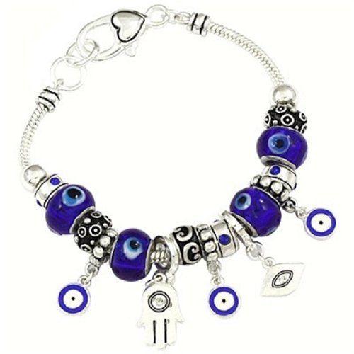 Blue Hamsa Charm Bracelet C08 Murano Glass Beads Rhinesto... www.amazon.com/...