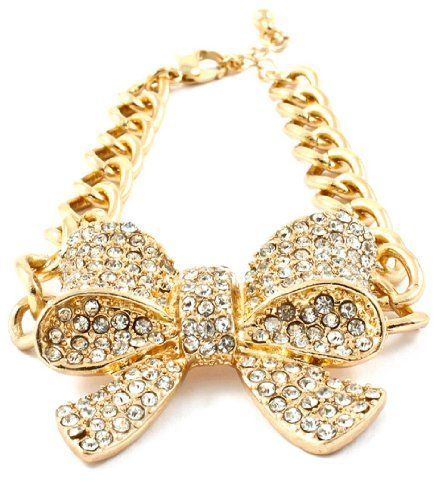 Bow Bracelet Clear Crystal Z12 Gold Tone Teen Ribbon 7 in... www.amazon.com/...