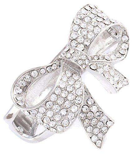 Bow Hinged Bracelet Z11 Clear Crystal Rhodium Ribbon Recy... www.amazon.com/...