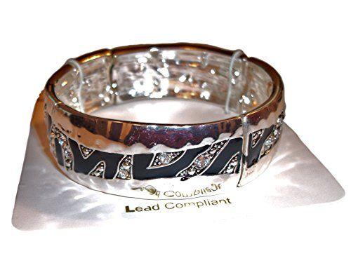 Bracelet Stretch Designer Inspired Black Silver Zebra Loo... www.amazon.com/...