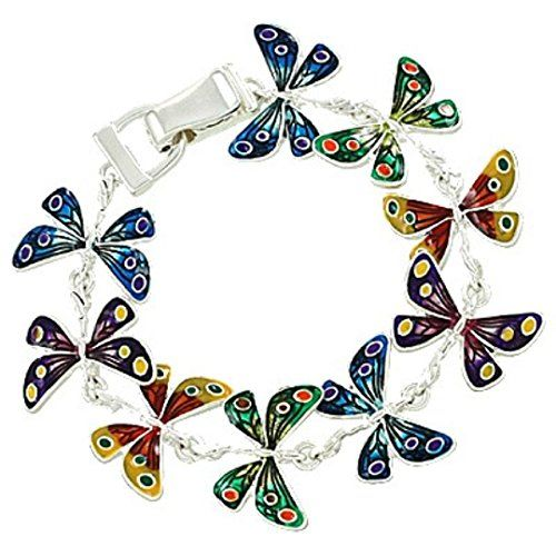 Butterfly Bracelet Magnetic Clasp Enamel Pretty Silver To... www.amazon.com/...