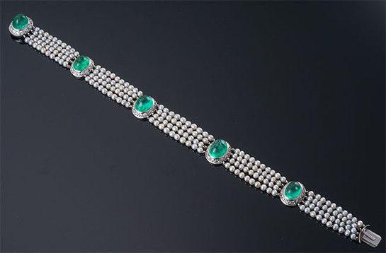 Cabochon emerald, diamond, pearl and platinum bracelet.