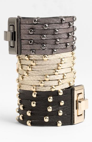 Cara Accessories Sliced Leather Studded Bracelet | Nordstrom