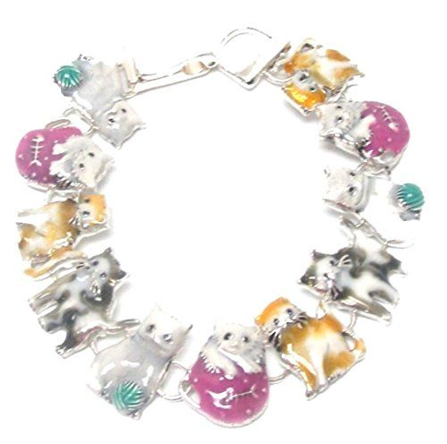 Cat Charm Bracelet C22 Gray White Yellow Magnetic Clasp S... www.amazon.com/...