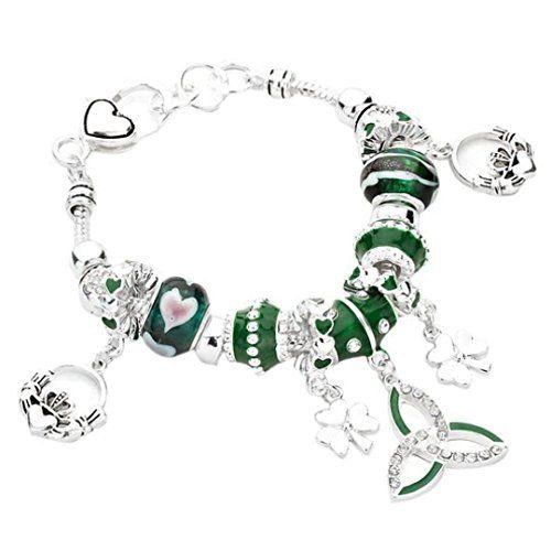 Celtic Bracelet Claddagh Z2 Irish Shamrock Clear Crystal ... www.amazon.com/...