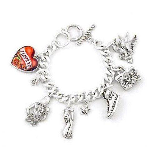 Charm Bracelet D6 Heart Skull Purse Luck Love Shoe Jeans ... www.amazon.com/...