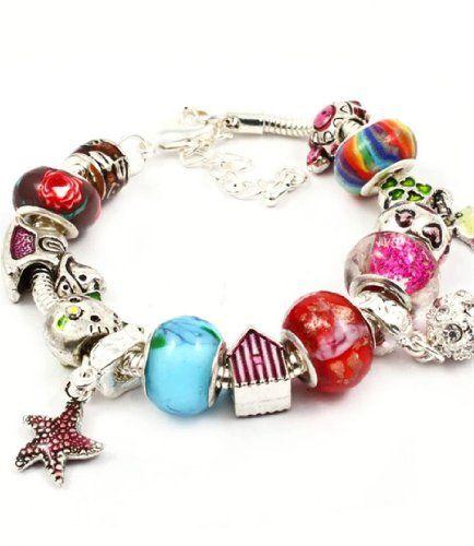 Charm Bracelet H5 Red Blue Murano Beads Cat Turtle Heart ... www.amazon.com/...