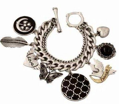 Chunky Charm Bracelet D5 Heart Love Wings Clover Peace Fe... www.amazon.com/...