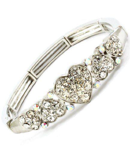 Clear Crystal Heart Bracelet Stretch Z3 Rhodium AB Love V... www.amazon.com/...