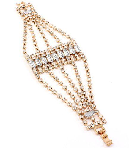 Clear Rhinestone Bracelet Z9 Multi Strand Prong Set Gold ... www.amazon.com/...