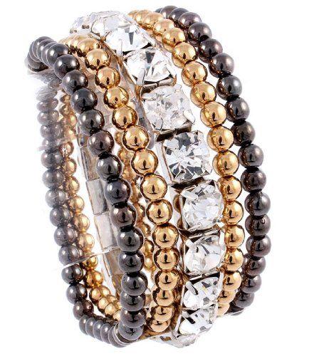 Clear Rhinestone Stretch Bracelet Z9 Black Gold Tone Bead…