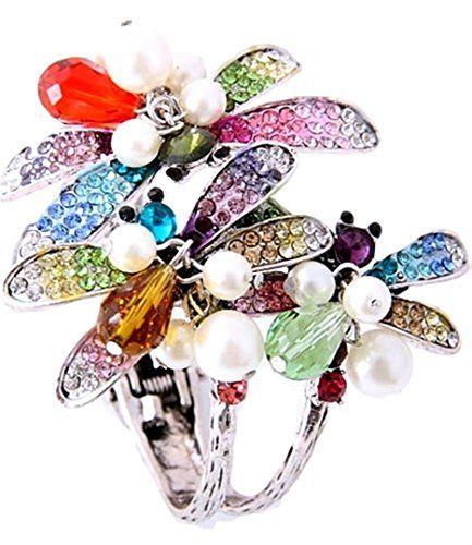 Colorful Dragonfly Hinged Bangle Bracelet Z10 Rhinestone ... www.amazon.com/...