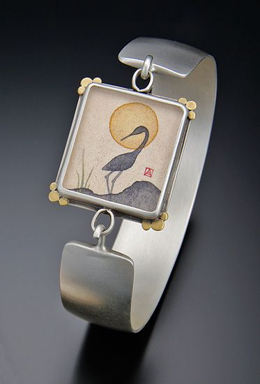 Crane Silhouette Cuff Bracelet by Ananda Khalsa: Silver Bracelet available at ww...