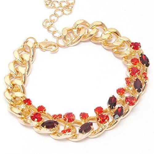 Crystal Link Bracelet C45 Red Chunky Lobster Clasp Recycl... www.amazon.com/...