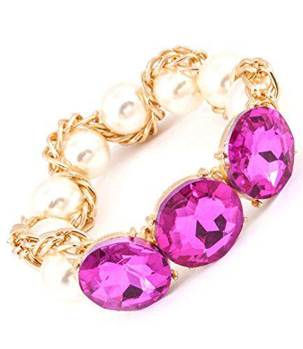 Crystal Stretch Bracelet C54 Fuchsia Pearl Gold Tone Big ... www.amazon.com/...