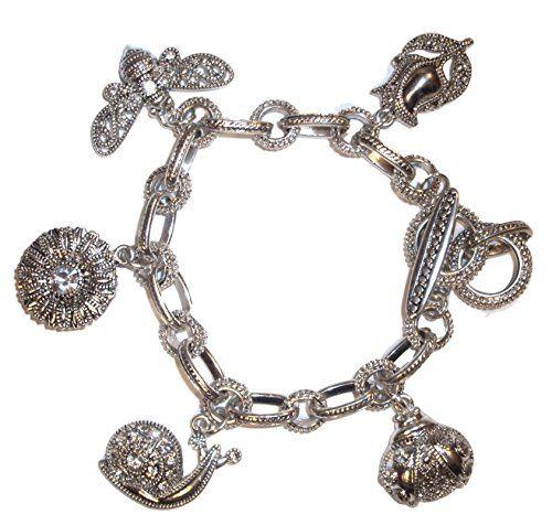 Crystal Studded Garden Theme Charm Bracelet D5 Marcasite ... www.amazon.com/...
