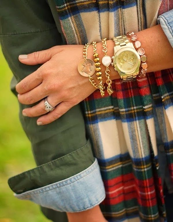 Denim With Green Jacket and Plaid Scarf