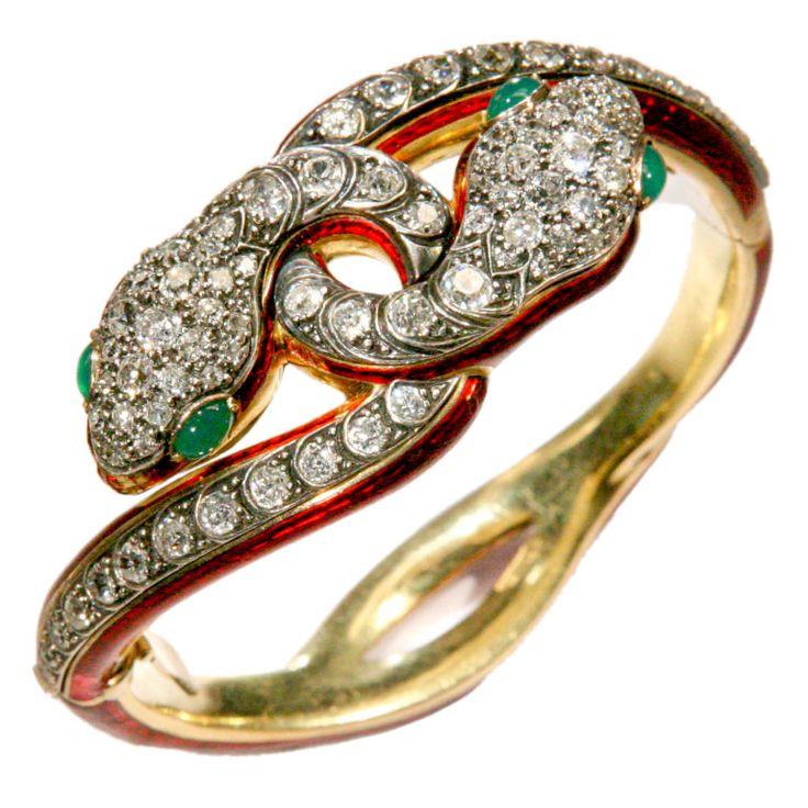 Diamond Victorian Double Snake Bracelet late 19th century