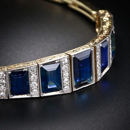 Edwardian Diamond and Sapphire Bracelet