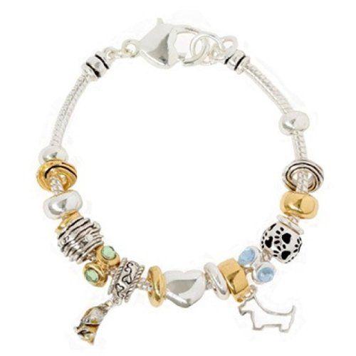 Dog Charm Bracelet Murano Beads BV Heart Paw Crystal Pet ... www.amazon.com/...