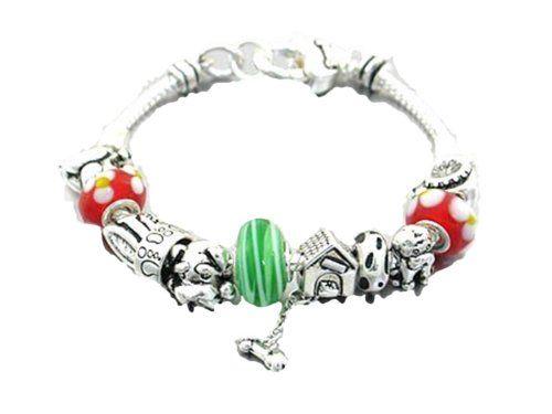 Dog Charm Bracelet Puppy BF Murano Slider House Bone Silv... www.amazon.com/...