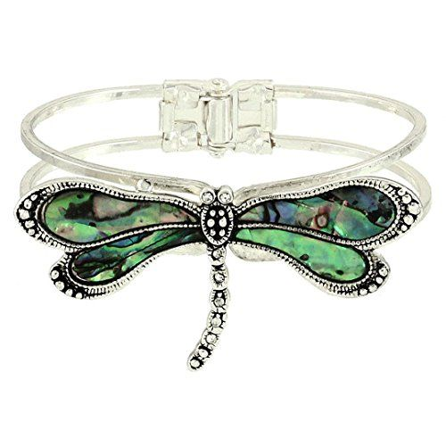 Dragonfly Hinged Bracelet C53 Abalone Print Clear Crystal Silver Tone Recyclebab...