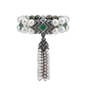 Emerald, black diamond, white diamond and pearl tassel bracelet, by Stephen Webs...