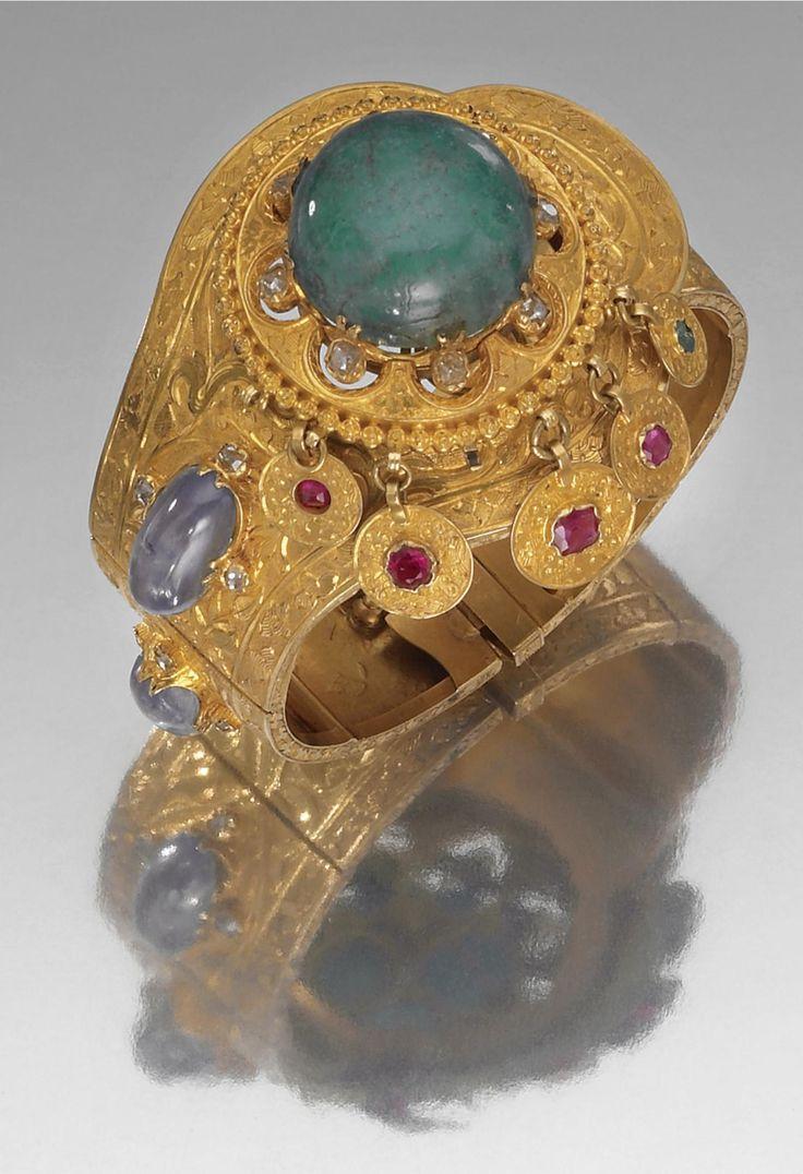Emerald, sapphire, ruby, diamond and gold bracelet.