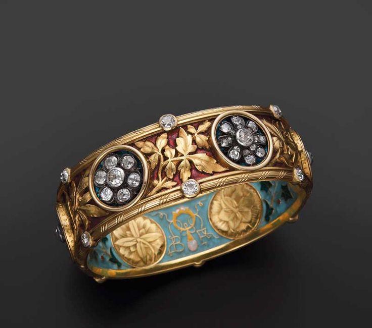Enamel and diamond bracelet by Bapst and Falize c. 1887.