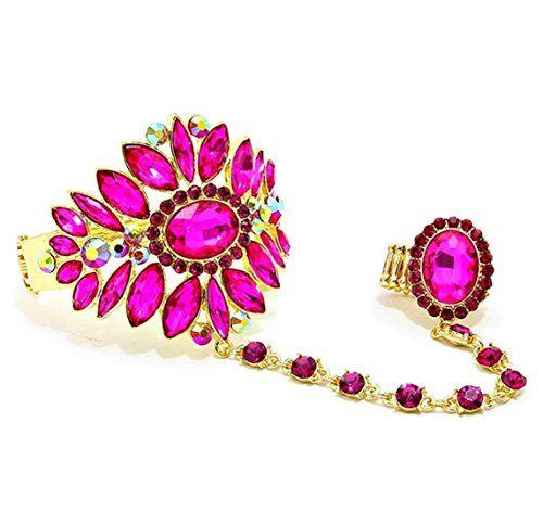 Fancy Slave Bracelet Ring Set H5 Marquise Oval Fuchsia Cr... www.amazon.com/...