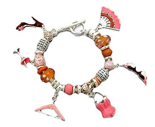 Fashion Charm Bracelet BT Pink Murano Glass Beads Silver ... www.amazon.com/...