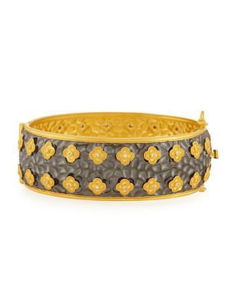 Floral and Pave CZ Wide Bangle by Freida Rothman at Neiman Marcus Last Call.