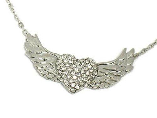 Flying Heart Wings Crystal Necklace C48 Recyclebabe Neckl... www.amazon.com/...