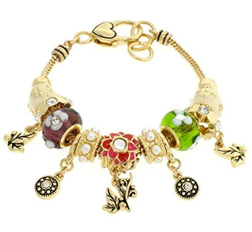 Garden Charm Bracelet BH Purple Green White Murano Beads ... www.amazon.com/...