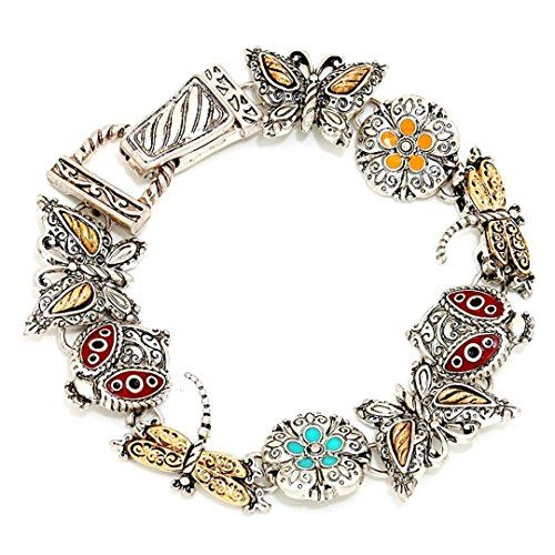 Garden Charm Bracelet Z1 Butterfly Ladybug Dragonfly Two ... www.amazon.com/...