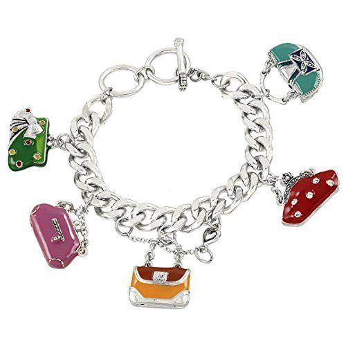 Handbag Charm Bracelet D7 Red Orange Pink Purple Purse Si... www.amazon.com/...