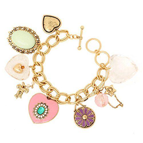 Heart Charm Bracelet C57 Clear Crystal Glass Green Stone ... www.amazon.com/...