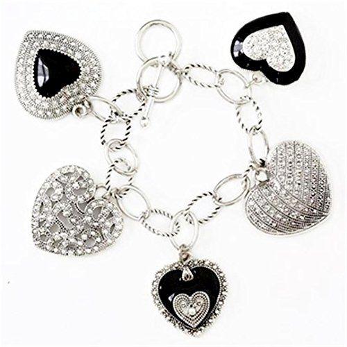Heart Charm Bracelet D11 Marcasite Look Recyclebabe Brace... www.amazon.com/...