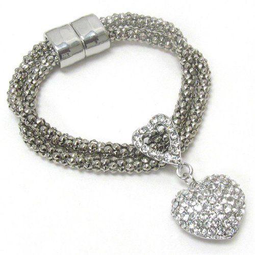 Heart Charm Bracelet D12 Clear Crystal Recyclebabe Bracelets www.amazon.com/...